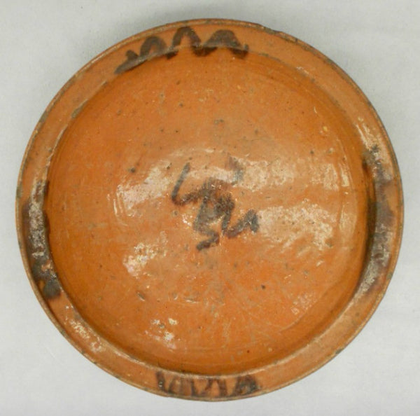 TB0091: Brown Glaze Plate with Frog - top down