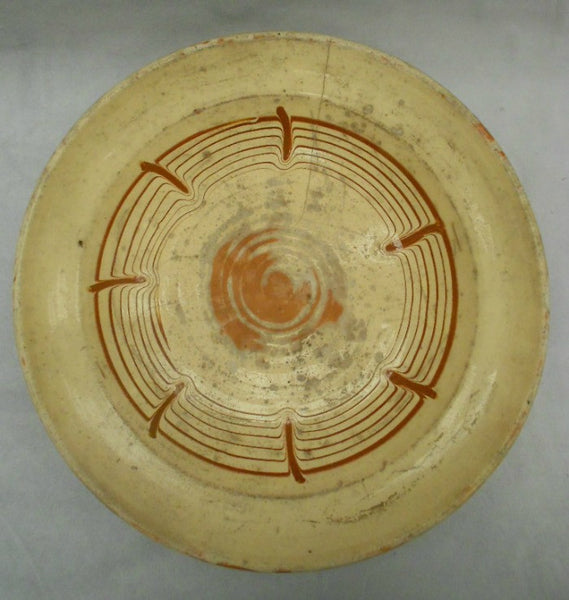 TB0092: Bowl Cream Glaze Brown Swirl - top view