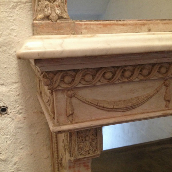 Irish Mirror and Marble Top Console