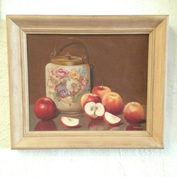 Still Life Painting Victorian Biscuit Barrel and Red Delicious Apples