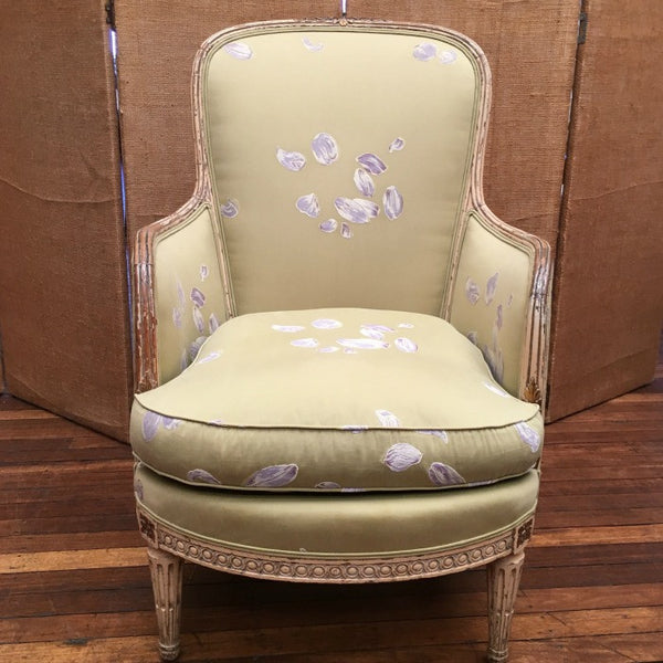Bergere Chair Green Silk with Floral Motif