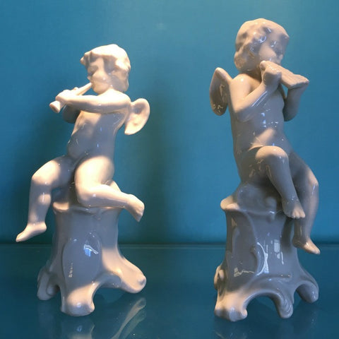 Pair of Porcelain Cherub Musicians