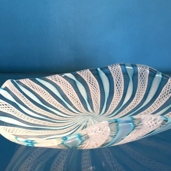 Murano Blue and White Art Glass Bowl
