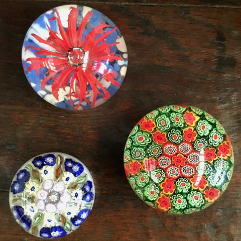 Collection of three Millefiori Paperweights