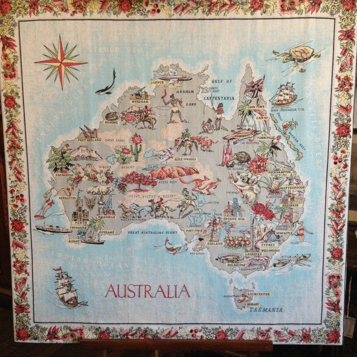 Vintage australiana tablecloth on board ben stoner antiques vintage australiana tablecloth on board gumiabroncs Choice Image