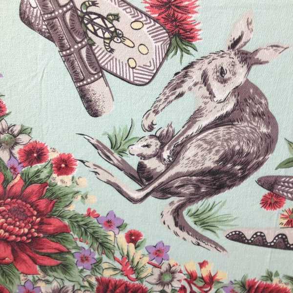 Vintage Australiana Tablecloth on Stretcher