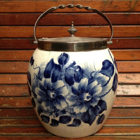 Blue and White Victorian Biscuit Barrel