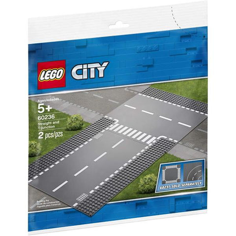 LEGO City: Straight and T-Junction - 2 Piece Building Set [LEGO, #60236, Ages 5+]