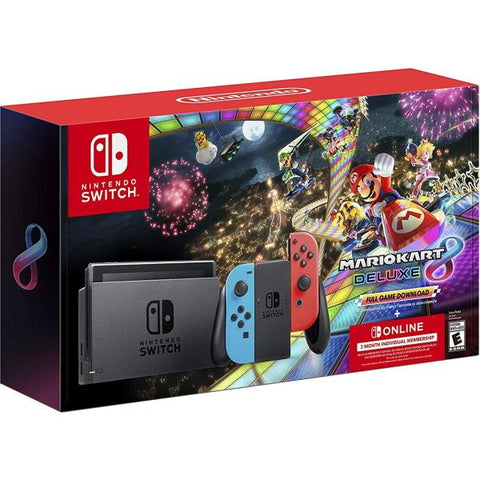 Nintendo Switch Console - Mario Kart 8 Deluxe Bundle - Neon Blue and Red Joy‑Con [Nintendo Switch System]