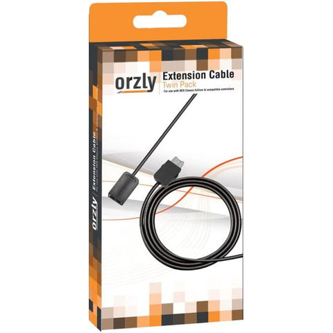 Orzly NES Mini / SNES Mini Controller Extension Cable Twin Pack - 6FT/1.8M [Retro Accessory]