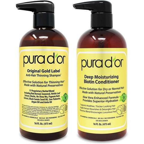 Pura D'or Biotin Original Gold Label Anti-Thinning Shampoo & Conditioner Set - 473mL / 16 fl oz [Beauty]