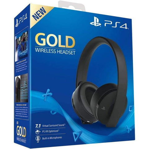 PlayStation Gold Wireless Headset - Black [PlayStation 4 Accessory]