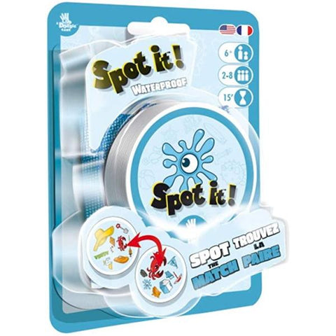 Spot It! Waterproof [Card Game, 2-8 Players, Ages 7+]