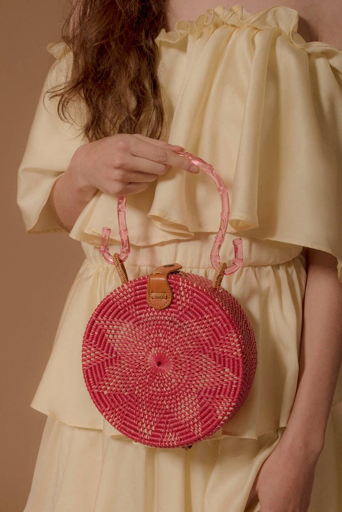 Load image into Gallery viewer, Pink Rattan Bag with Acrylic Handle