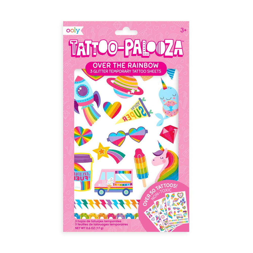 Load image into Gallery viewer, Tattoo-Palooza Temporary Glitter Tattoo: Over The Rainbow