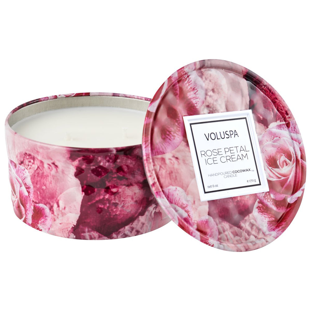 Load image into Gallery viewer, Rose Petal Ice Cream Mini Tin Candle