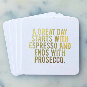 Load image into Gallery viewer, A Great Day Starts with Espresso Coasters
