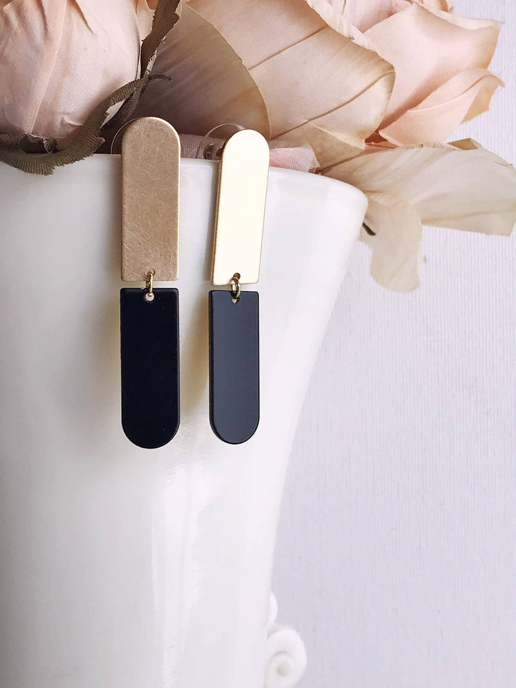 Split Bar Earrings - Black