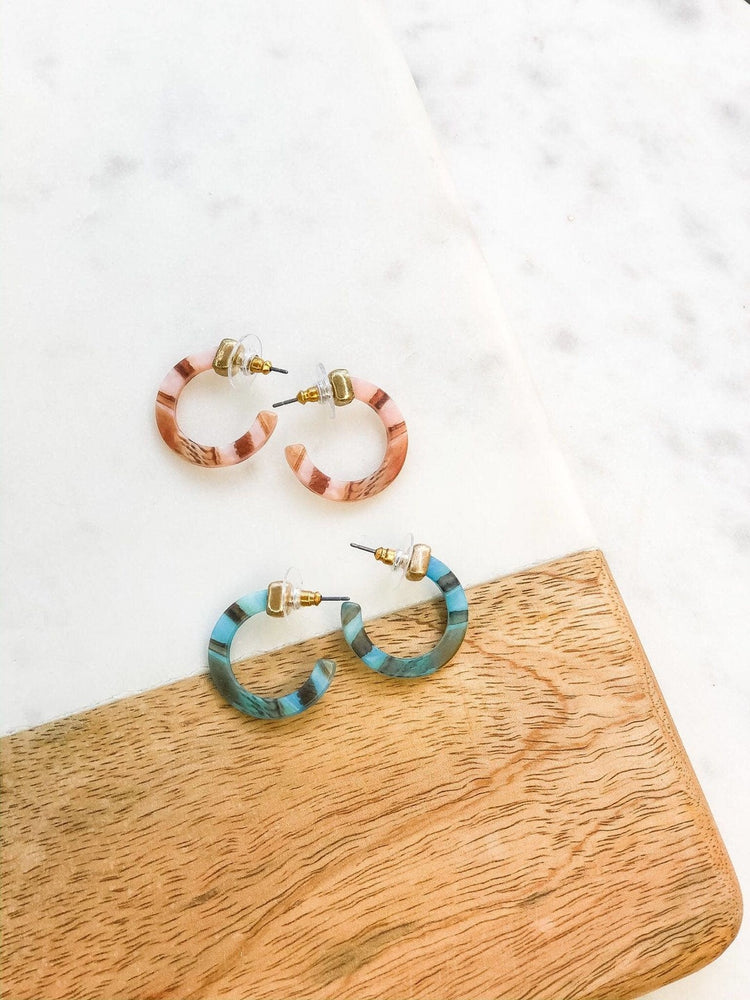Blue Petite Acrylic Hoops with Gold Accent