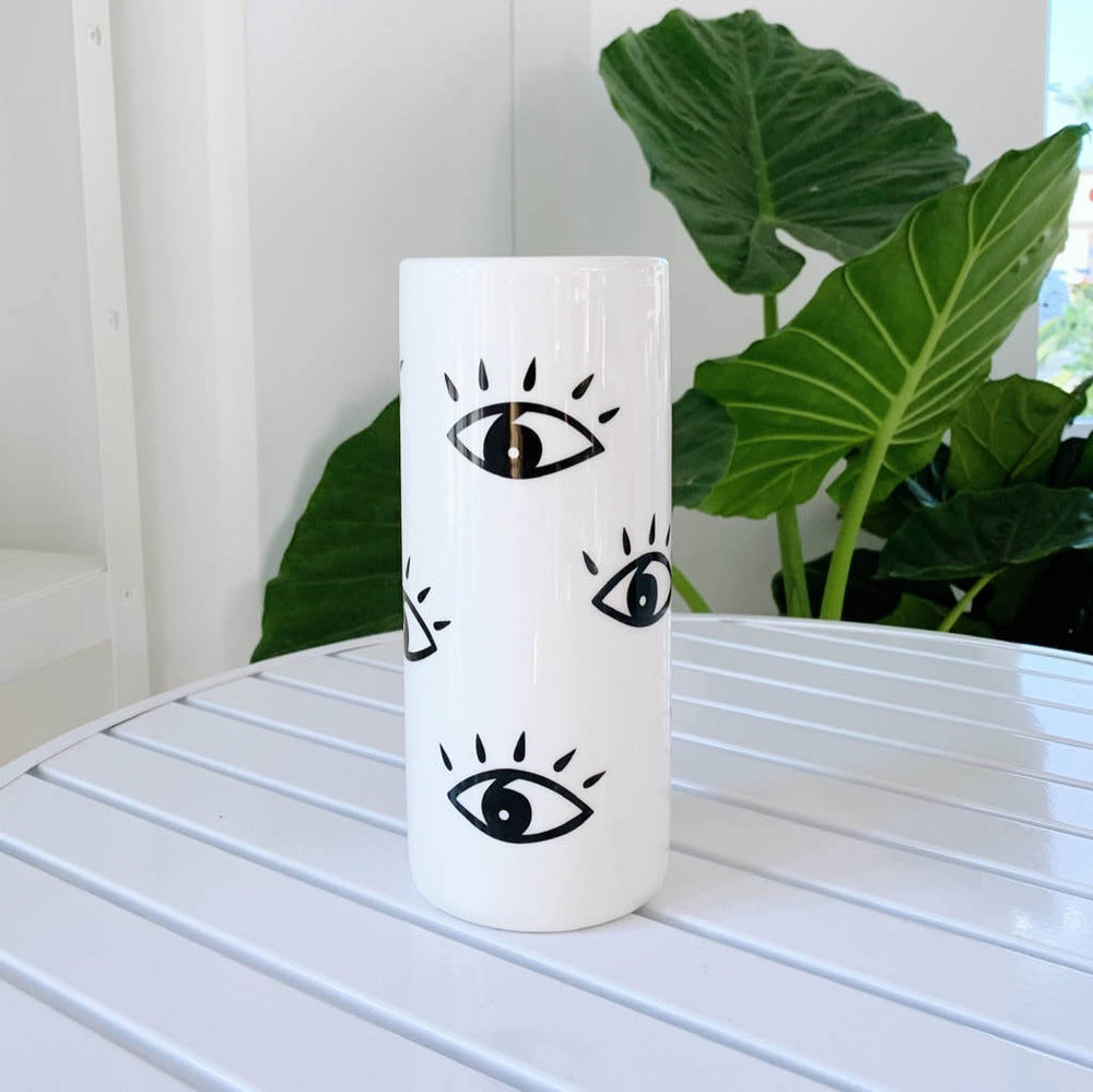 Load image into Gallery viewer, Tall eye vase - white ceramic