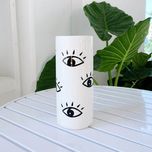 Tall eye vase - white ceramic
