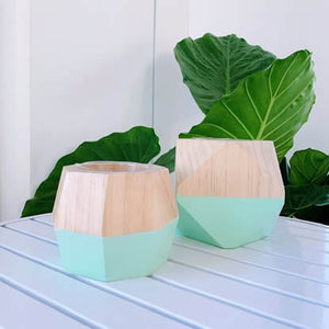 Hand painted wood geo pot - mint