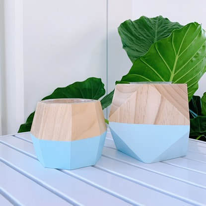 Load image into Gallery viewer, Hand painted wood geo pot - sky blue