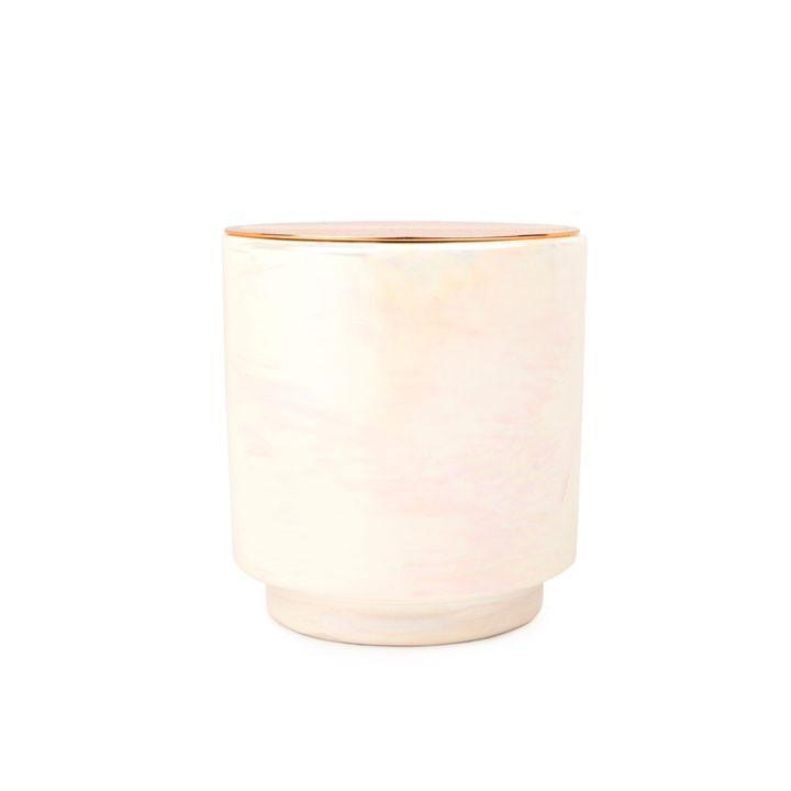 GLOW 17 OZ IVORY IRIDESCENT CERAMIC WITH COPPER LID - COTTON & TEAK