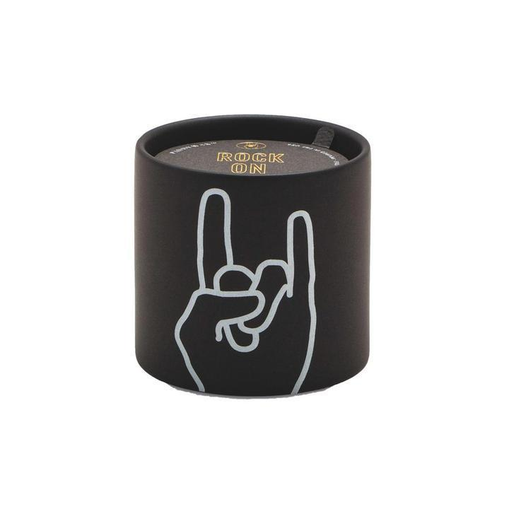 "Load image into Gallery viewer, IMPRESSIONS 5.75 OZ BLACK CERAMIC ""ROCK ON"" -LEATHER & OAKMOSS"