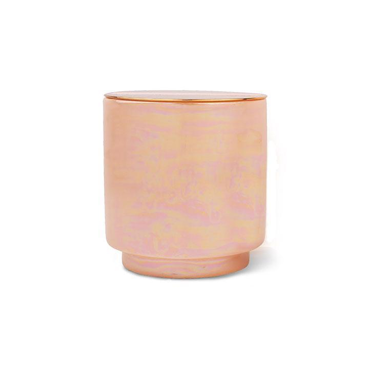 GLOW 17 OZ APRICOT IRIDESCENT CERAMIC WITH COPPED LID - ROSEWATER &COCONUT