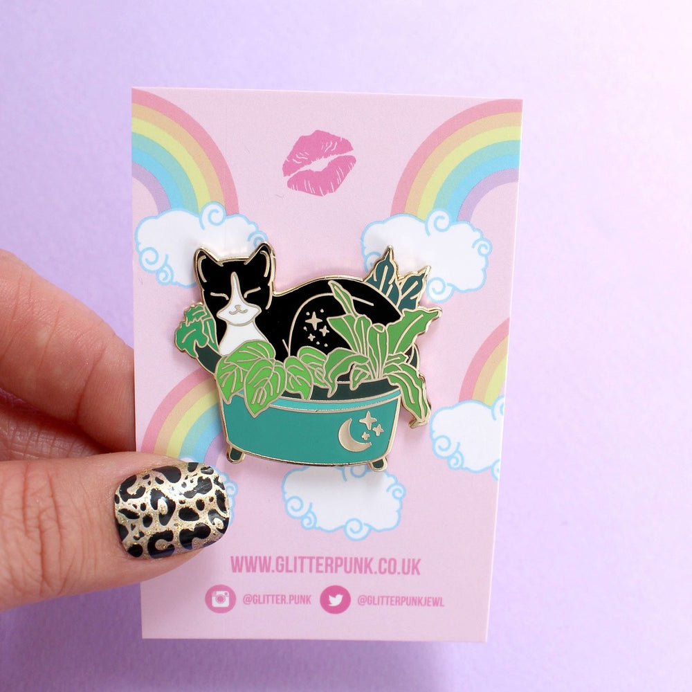 Load image into Gallery viewer, Plant Pot Cat Hard Enamel Pin