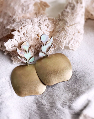 Apple Earrings - Brushed Brass / Verdigris