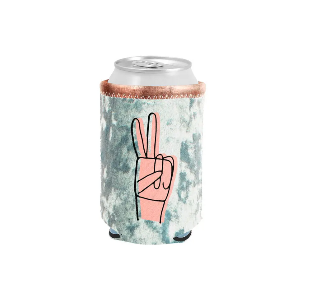 Metallic and Velvet Can Coolers - Peace Sign