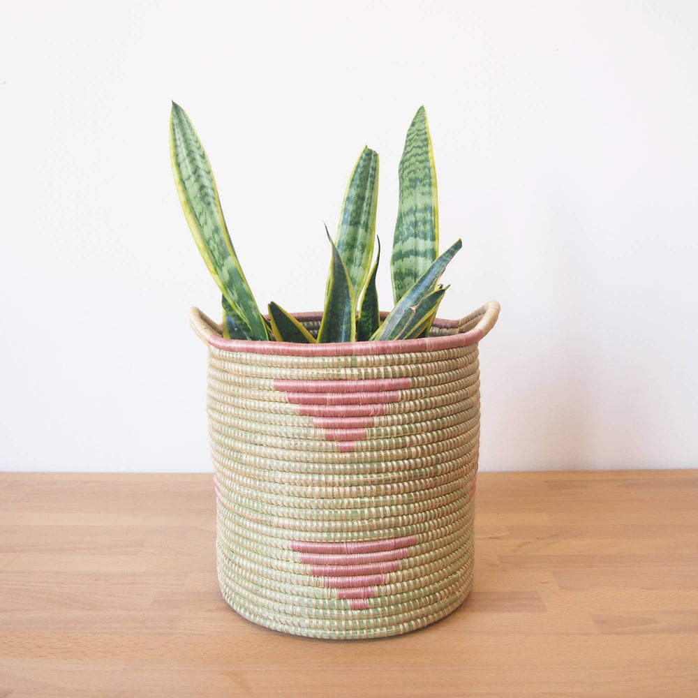 Load image into Gallery viewer, Handled Storage Basket: Pink Triangle