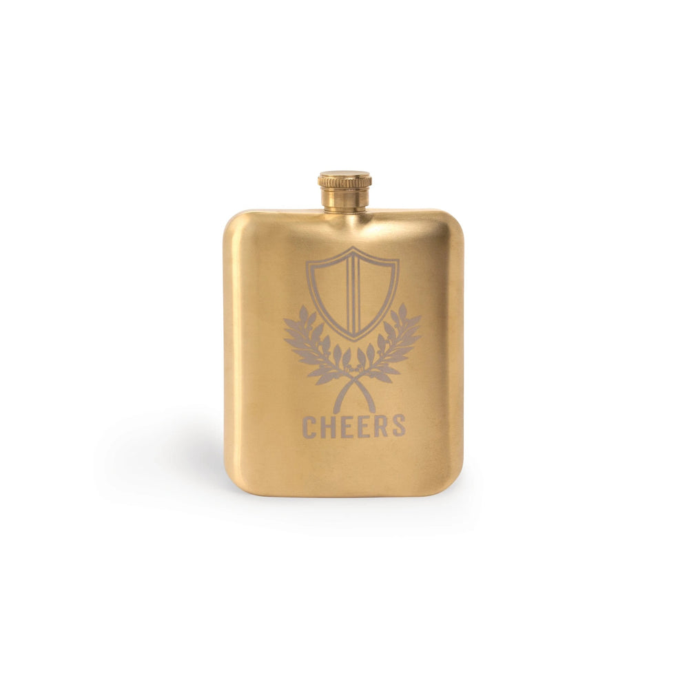 "Gold ""Cheers"" Stainless Steel Hip Flask"