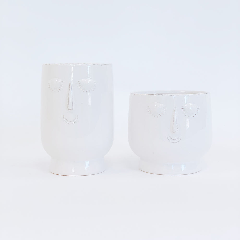 Zen Face Ceramic Pot - Low