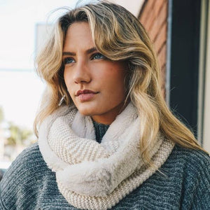 Faux Sherpa Lining Knit Infinity Scarf - Assorted Colors