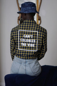 Can't Colonize The Vibe | Blue and Yellow Fall Flannel