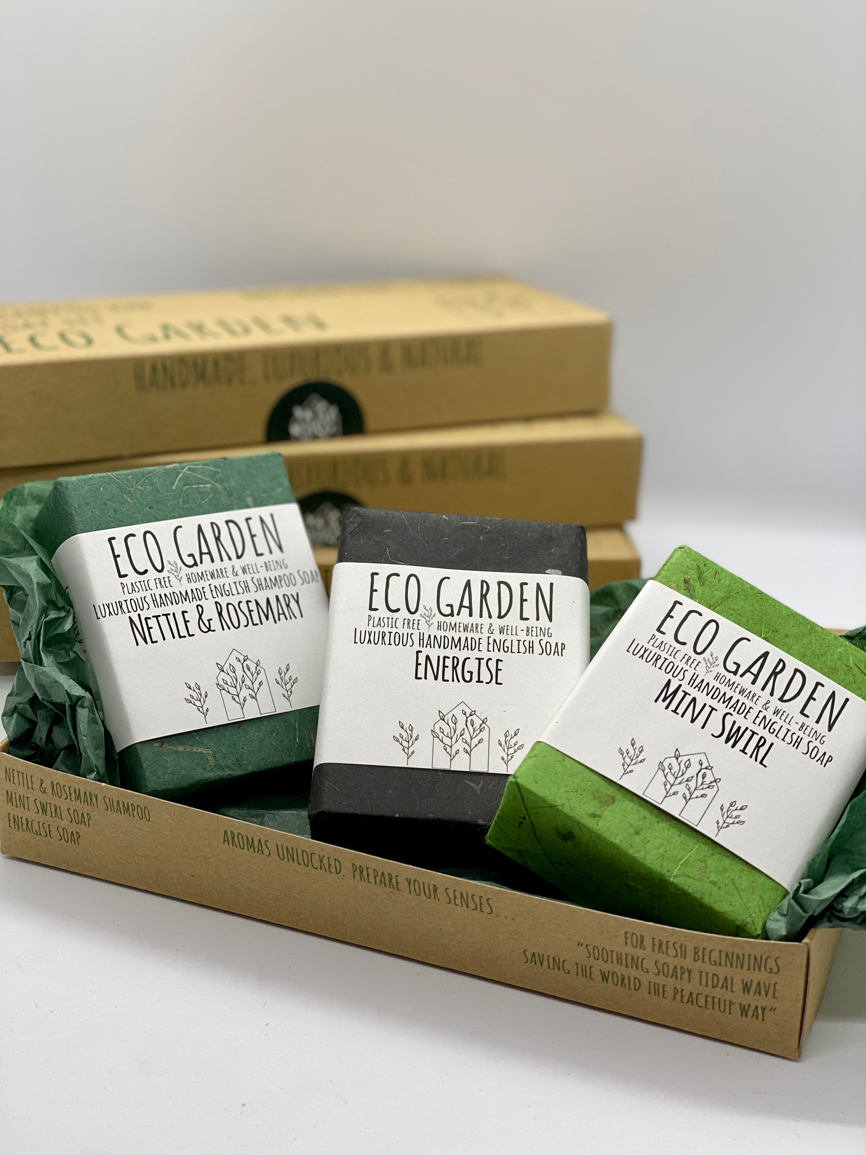 Morning Tide Eco Garden Handmade Luxury Natural Soap and Shampoo Bar Set