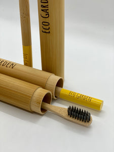 Saffron Yellow Eco Garden Bamboo Travel Toothbrush
