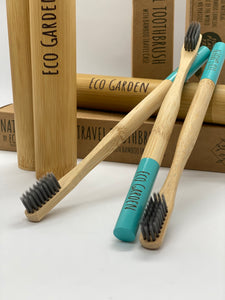 Cerulean Blue Eco Garden Bamboo Travel Toothbrush