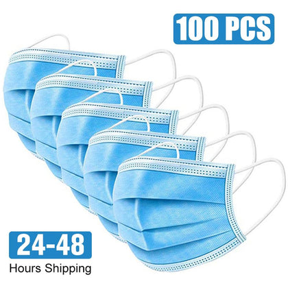 10-100PCS masks, one-time protection, three-layer filter, dust-proof ear hooks, non-woven fabric, melt-blown cloth masks, can be - MultiShop sàrl