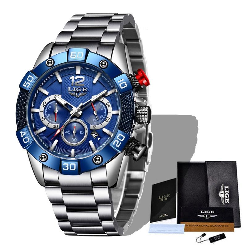 New LIGE Stainless Steel Watches Mens Sports Waterproof Luminous Chronograph Top Brand Luxury Quartz Men Watch Relogio Masculino - MultiShop sàrl