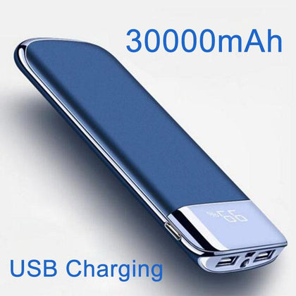 Power Bank 30000mAh 2 USB LCD Powerbank Portable External Battery Mobile Phone Universal Charger for Xiaomi MI for iphone 8 - MultiShop sàrl