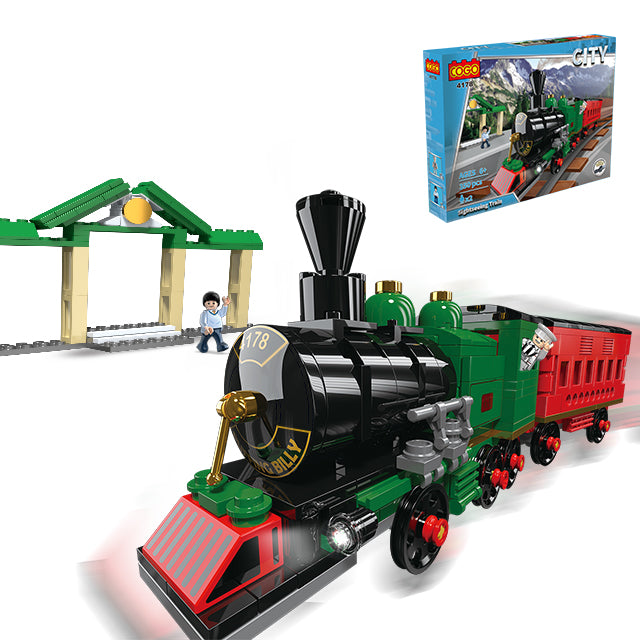 Plastic new train building puzzle blocks toys-4