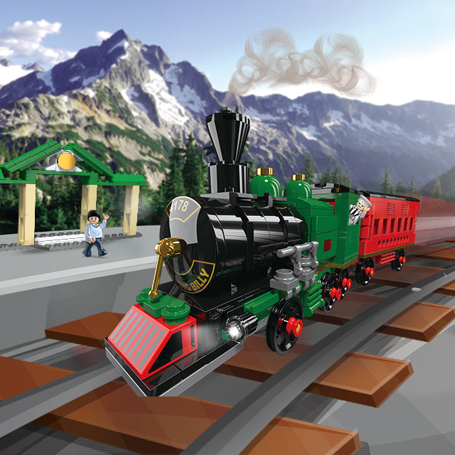 Plastic new train building puzzle blocks toys-2