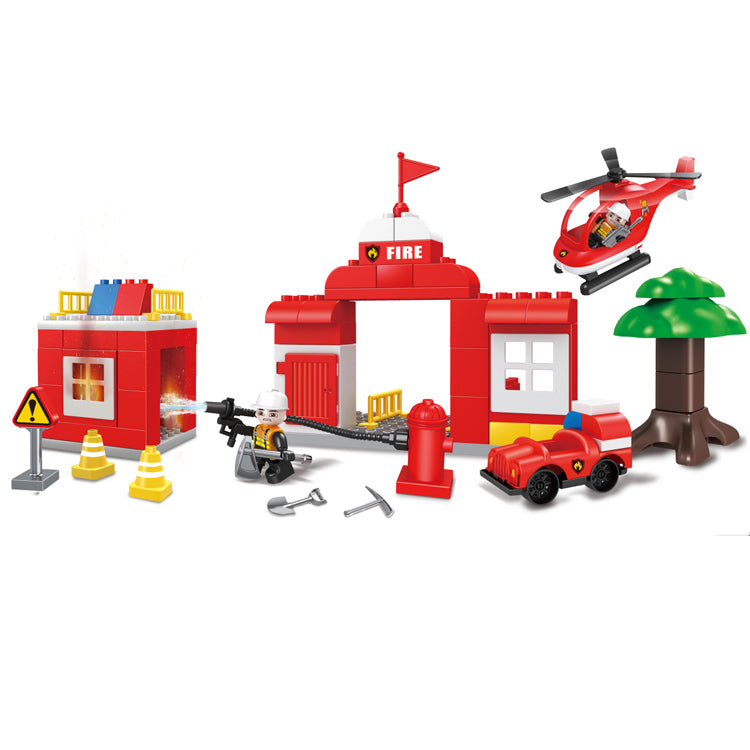 plastic duplo fire fighting Blocks toys for kids-1