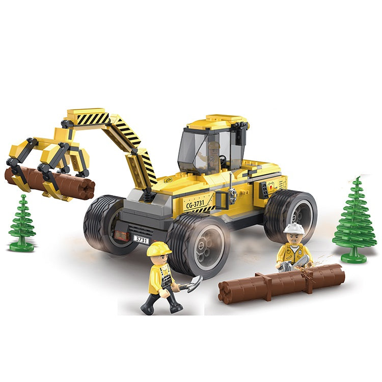 Creative 380pcs logging works engineering car enlighten bricks toys for children-3