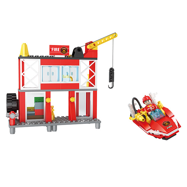Fire station building block toys-3