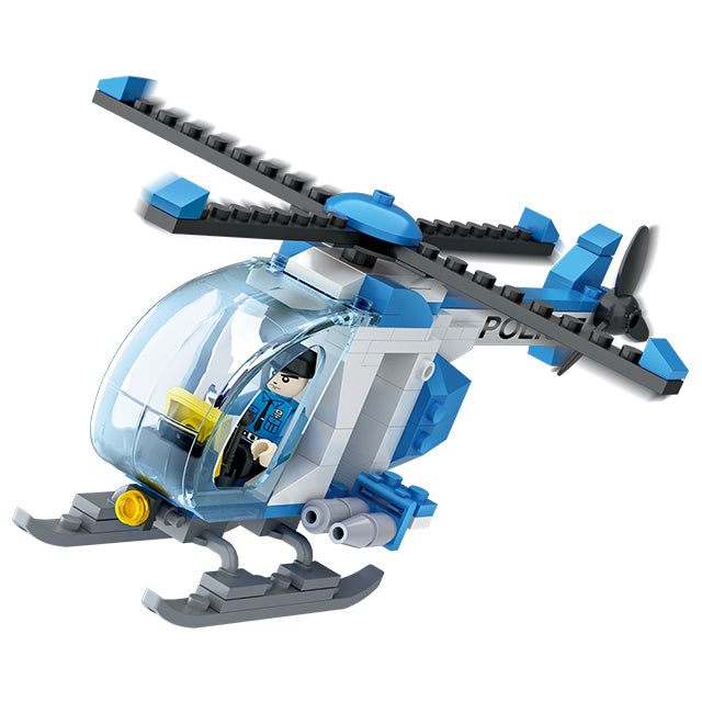 aBS police helicopter puzzle building block toy set-5